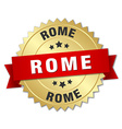 Rome round golden badge with red ribbon vector image vector image