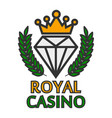 royal casino colorful logo emblem isolated on vector image