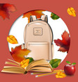 school bag and autumn leaves round frame back to vector image