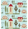 Seamless pattern element Cute houses with red vector image