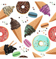 seamless pattern with sweets - ice cream macarons vector image