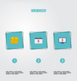set of analytics icons flat style symbols with vector image vector image