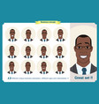 set of male facial emotions black american man vector image