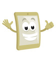 smiley smart phone mascot vector image vector image