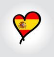 spanish flag heart-shaped hand drawn logo vector image