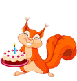 Squirrel holding cake vector image