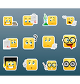 Studying smile stickers set vector image