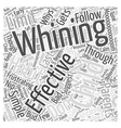 The Whys of Whining Word Cloud Concept vector image vector image