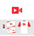 video logo design with business card and t shirt vector image