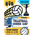 volleyball match sport summer beach game poster vector image