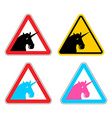 Warning sign of attention unicorn Dangers of vector image vector image