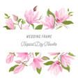 watercolor exotic floral border with magnolia vector image