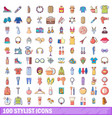 100 stylist icons set cartoon style vector image vector image