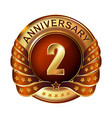 2 years anniversary golden label with ribbon vector image vector image