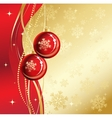 Background with Christmas baubles and snowflakes vector image vector image