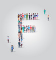 big people crowd gathering in shape letter f vector image vector image