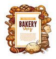 bread and pastry sketch frame for bakery banner vector image vector image
