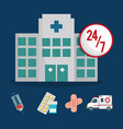 building clinic service healthcare 24-7 vector image