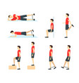 cartoon jumper knee rehabilitation exercise card vector image vector image