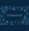 chemistry blue outline horizontal frame vector image vector image