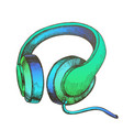 color listening audio device cable headphones vector image vector image