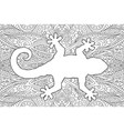 coloring book page with white gecko silhouette vector image vector image