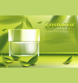 cream jar cosmetic products ad with green tea vector image