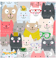 cute funny cat cartoon seamless pattern vector image vector image