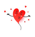 cute with heart shape balloon soaring in air vector image