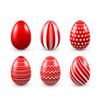 easter eggs red set spring holidays in april vector image vector image
