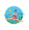 female diving in the ocean swimming with fish and vector image vector image