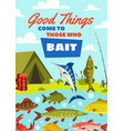 fishing banner with fish catch and fisherman camp vector image vector image