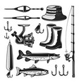 fishing equipments and tackles objects vector image