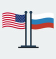 flag of united states and russiaflag stand vector image vector image