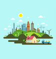 flat design island with family house and city vector image vector image