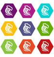 foamy splash icon set color hexahedron vector image vector image