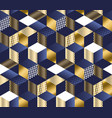 geometric blue and gold cubes seamless pattern vector image vector image