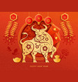 golden ox zodiac sign bulls head and flowers cny vector image vector image