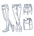 Hand drawn fashion Collection of girls jeans vector image vector image