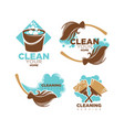 home cleaning service icons set of brooms vector image vector image