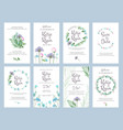 invitation cards wedding floral placards love vector image vector image