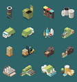 isolated garbage recycling icon set vector image