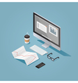 Isometric office workplace vector image vector image