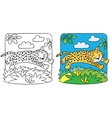 Little cheetah or jaguar coloring book vector image