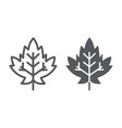 maple leaf line and glyph icon foliage and nature vector image