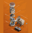mars colonization isometric composition vector image vector image
