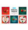 merry christmas 2019 social media templates vector image vector image