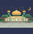 mosque courtyard with moonlight and fireworks on vector image