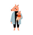 mother pig holding piglet on her hands loving vector image vector image