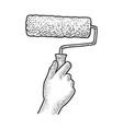 paint roller in hand sketch vector image